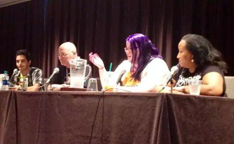 "From L-R: Tariq Kyle, Kevin Bachelder, Mary Moline, and Hanako M. Ricks discuss ""Growing Up to Save the World"" at Dragon Con 2014. Photo credit: Anthony Liggins"